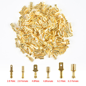 100Pcs/lot 2.8/4.8/6.3mm Female and male Crimp Terminal Connector Gold Brass/Silver Car Speaker Electric Wire Connectors Set(China)