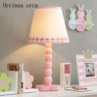 Европейский сад лепестки цветка розовый настольная лампа гостиная для девочек Спальня ночники современный простой светодиодный деревянна