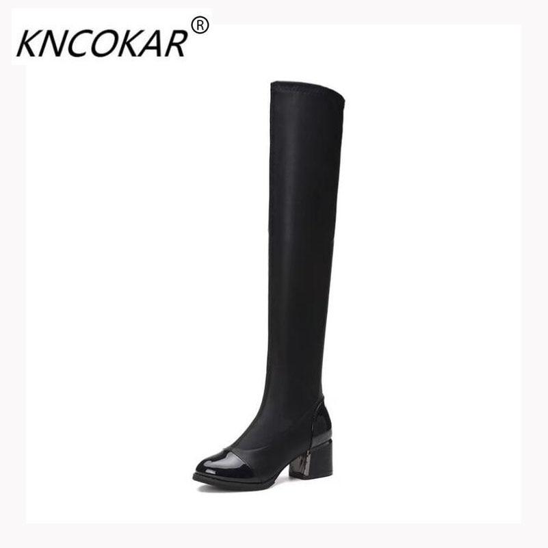 2017 Herbst Und Winter Neue Mode Heiße Verkäufe Frauen Stiefel, 6 Cm Ferse Hohe Elastische Haut über Knie Stiefel