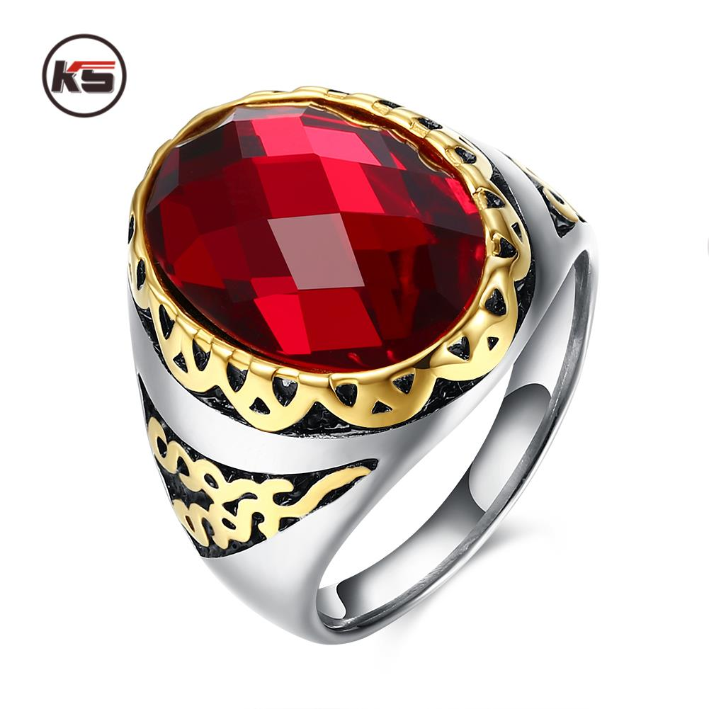 Vintage Rings With Onxy Red Garnet Natural Stone Jewelry For Men Guy  Birthday Gift Punk Real