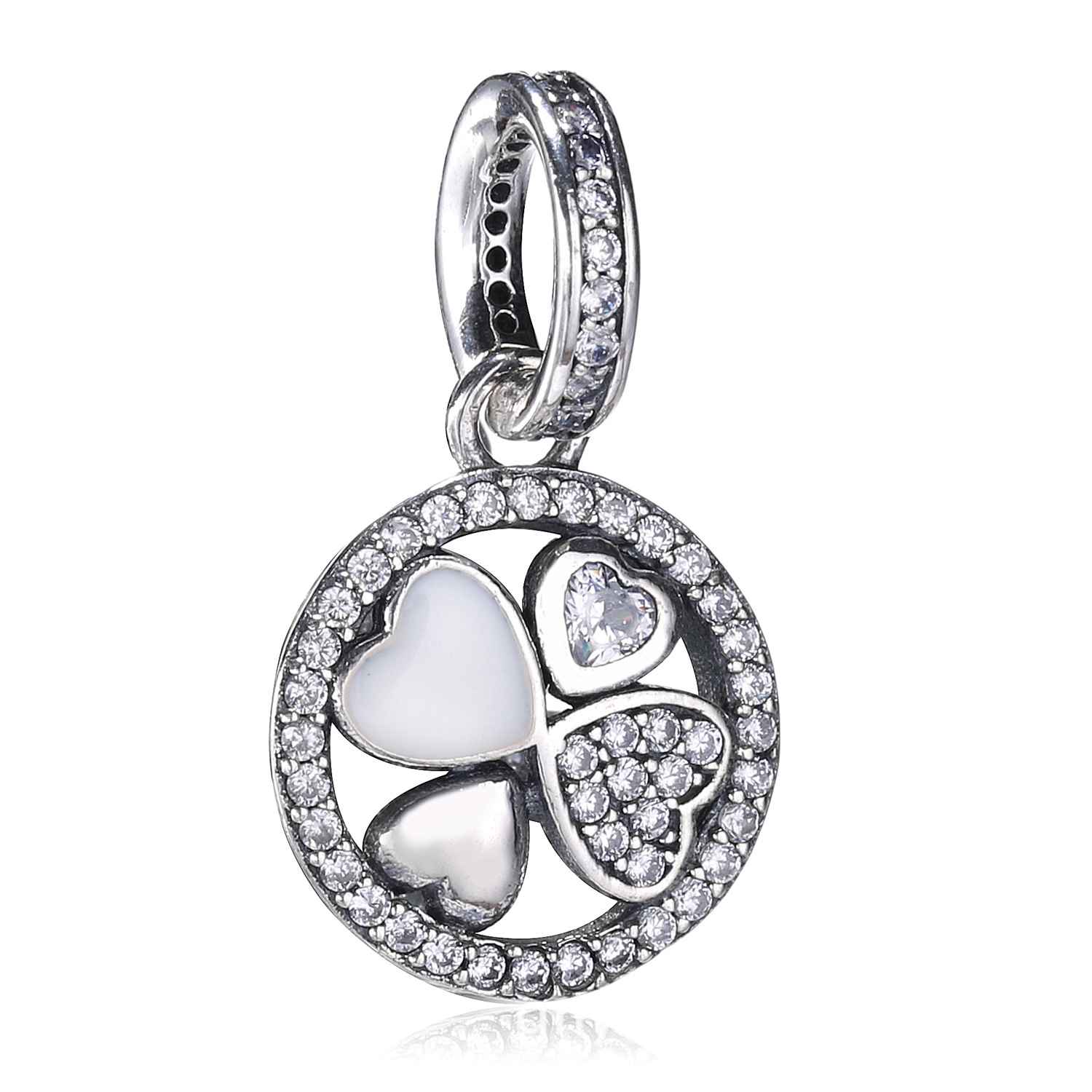2017 Summer 925 Sterling Silver Four Clover Beads Pendant Crystal Charms Fit Original Pandora Charm Bracelet DIY Jewelry Making