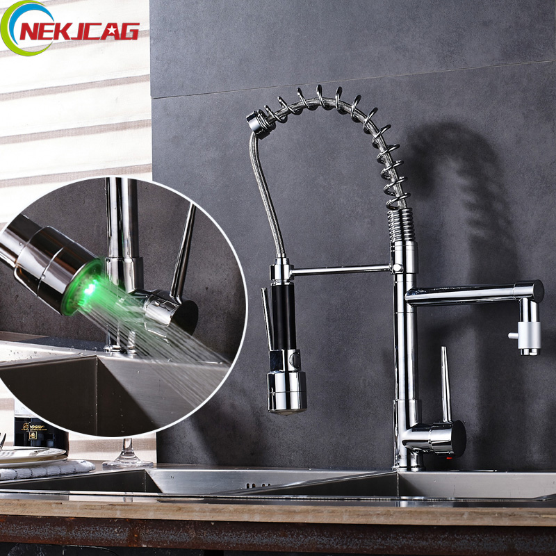 LED Faucet Sprayer Rotation Spring Chrome Single Handle Deck Mounted Kitchen Sink Faucet Mixer Tap with Hole Cover Plate polished chrome deck mounted bathroom kitchen faucet tap single handle with brass soap dispenser