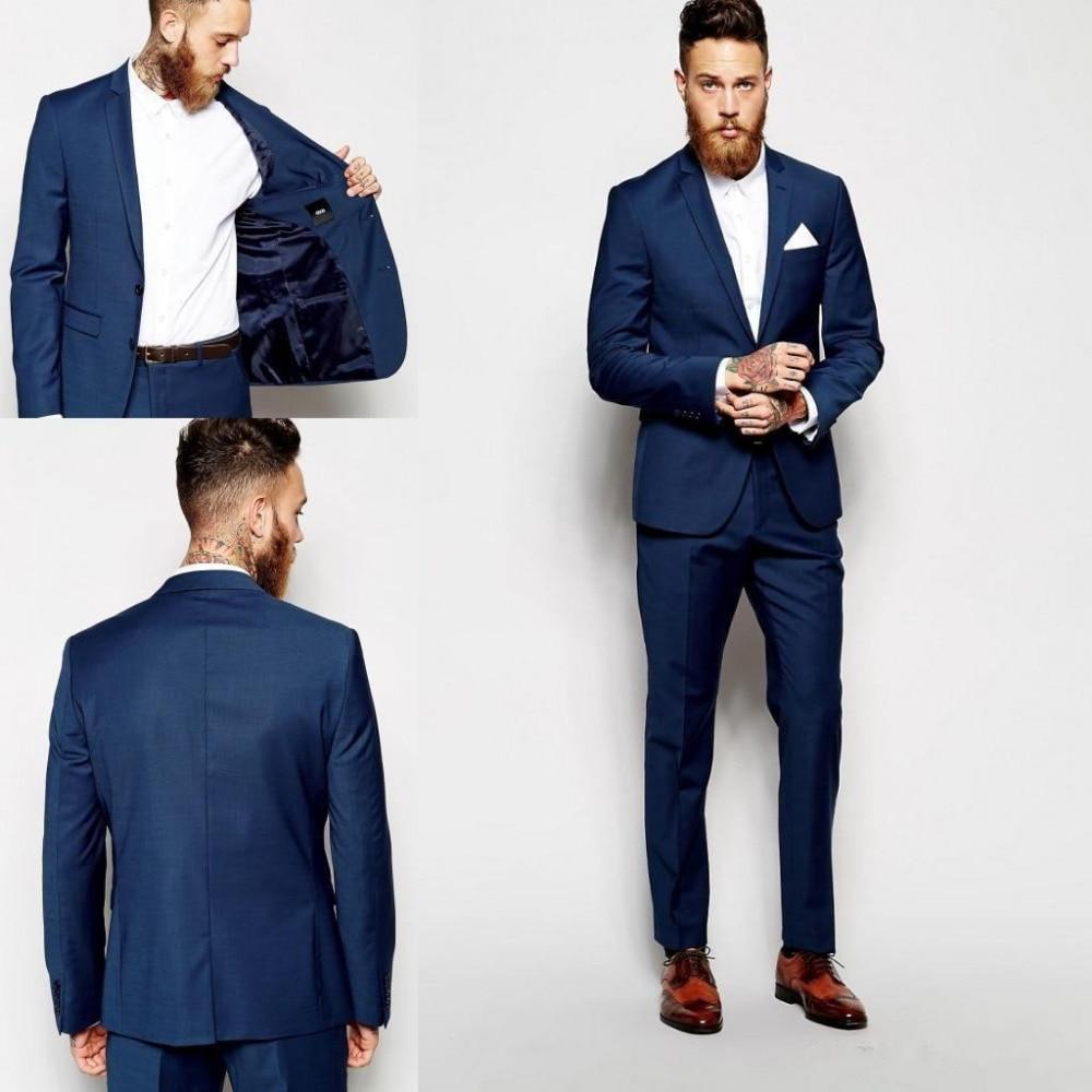 29d90c27e581 New Dark Blue Men Suits Groomsmen Slim Fit Suits Best Man Suit Wedding/Men's  Suits