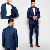 New Dark Blue Men Suits Groomsmen Slim Fit Suits Best Man Suit Wedding/Men's Suits Bridegroom Groom Wear (Jacket+Pants)