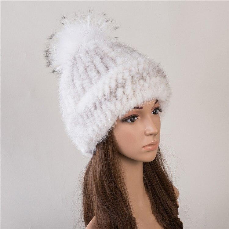 Réel fourrure chapeau de vison naturel fourrure casquettes pour femmes automne 6 couleurs nouveau style fourrure bonnets russe hiver chaud fourrure chapeaux H142 - 6