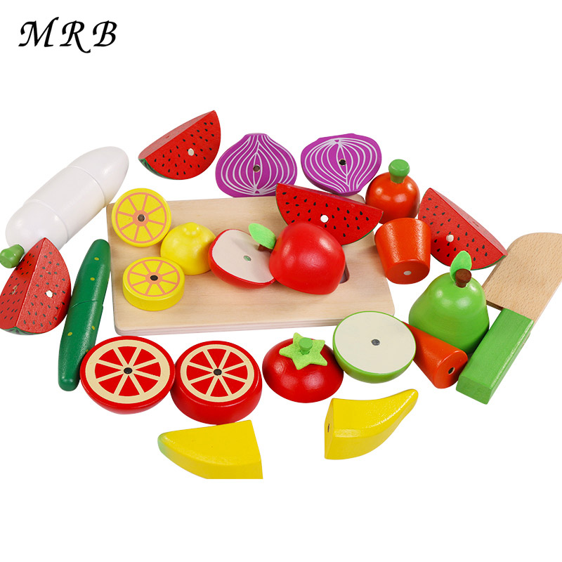 >2017 New A variety of <font><b>styles</b></font> Kids Wooden Kitchen Toys Cutting Fruit Vegetables education <font><b>food</b></font> toys for kids girl <font><b>Boy</b></font> gift