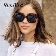 RunBird Oversized Cat Eye Flat Top Sunglasses Women 2019