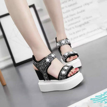 Wedges 14cm platform shoes 2016 spring and summer shoes 13cm high with sandals tide