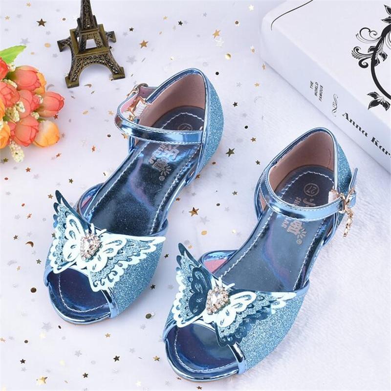 Alert Children Glitter Sequined Sandals Girls Dance Shoes Flat Party Princess Shoes Size 24-35 Pink Gold Sliver Blue Tx01