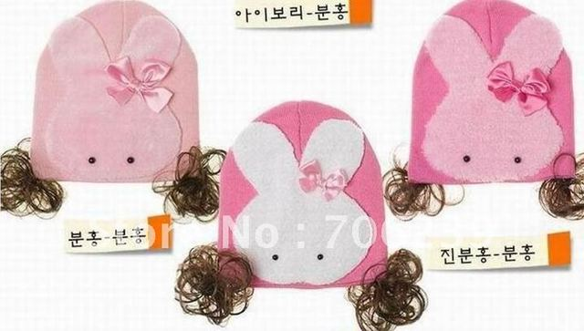 100% Baby Lovely Children's Winnie the cotton cap  cartoon baby bear attached cloth cap spring cap+ FREE SHIPPING