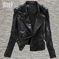 Американский стиль Черный подлинная кожаные куртки женщин 100% Овчины мотоциклетная куртка весте ан cuir femme jaqueta де couro LT653