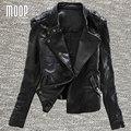 Estilo americano Preto jaquetas de couro genuíno das mulheres 100% da pele de Carneiro revestimento da motocicleta jaqueta de couro veste en cuir femme LT653