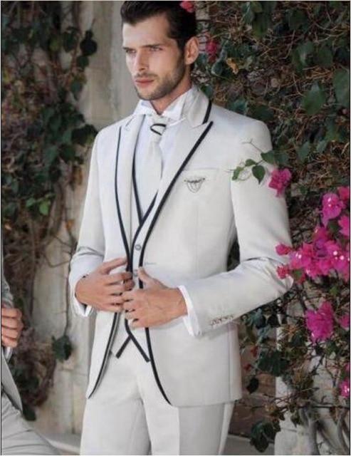 e23fc20cf5371 أحدث تصاميم معطف بانت الدعاوى الايطالية نمط البيج والأسود رجل حفل زفاف  العريس بدلة (سترة + السراويل + سترة)