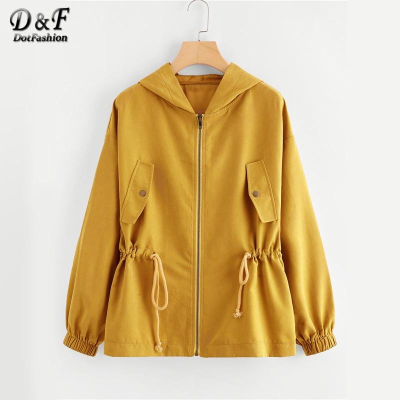 Dotfashion Zipper Button Pocket Drawstring Waist Hooded Ginger Jacket Female 2019 Autumn Zip Up Hoodie Weekend Casual Plain Coat