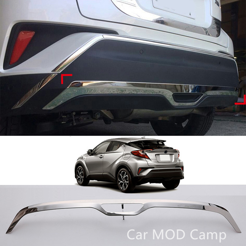 For Toyota C-HR 2016 2017 Stainless Steel Rear Bottom Bumper Protector Guard Plate Trim 1pcs Car Styling Accessories! for hyundai new tucson 2015 2016 2017 stainless steel skid plate bumper protector bull bar 1 or 2pcs set quality supplier