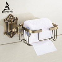 New Wall Mounted Bathroom Antique Brass Carving Toilet Paper Holder Bathroom Copper Basket Shelf Toilet Roll