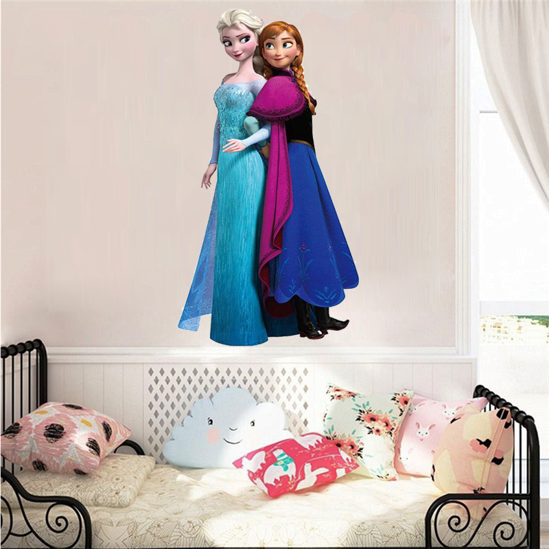Cartoon Elsa & Anna Princess Frozen Wall Stickers For Sisters Room Decoration Diy Anime Home Decals Movie Mural Art Pvc Poster