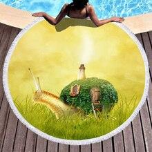 Boho Beach Towels Printed Cartoon Snails Towel Microfiber Round Fabric Bath For Living Room Home Decorative
