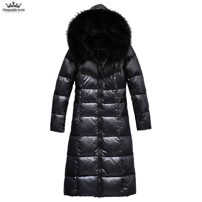 Plus size   Down     Coat   Female 2019 Winter Women Thick Real Fur collar White Duck   Down   Jacket Hooded Boutique Warm Jackets Outerwear