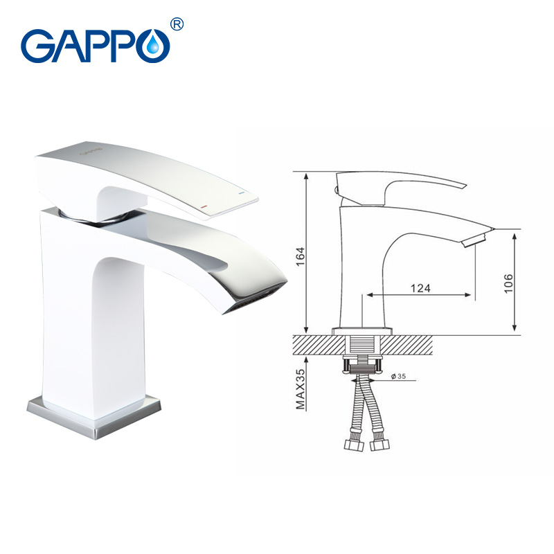 GAPPO white Basin Faucets waterfall faucets water tap basin mixer bathroom taps brass basin sink faucet