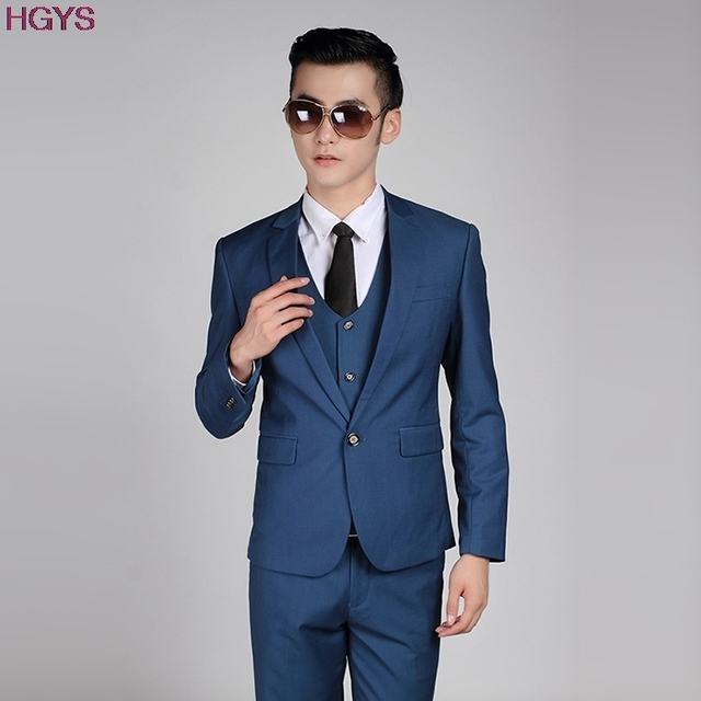 Aliexpress.com : Buy 2017 Navy Blue Casual Men's Suit Set Slim One ...