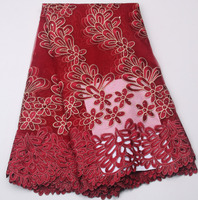 100 Polyester Fabric Wine Red Evening Dress Fabrics African Mesh Lace Stones Fabric For Sewing Materials
