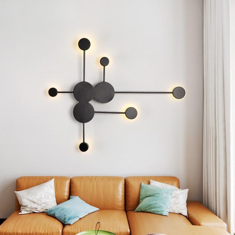 Preto/ouro/branco moderno led lâmpadas de parede para sala estar quarto cabeceira nordic decoração designer corredor hotel luzes parede Luminárias de parede     - title=