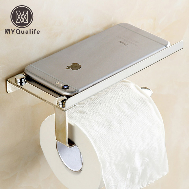 Free Shipping Ultrathin Style Bathroom Kitchen Paper Tissue Holder Wall Mounted Roll Rack Mobile Phone