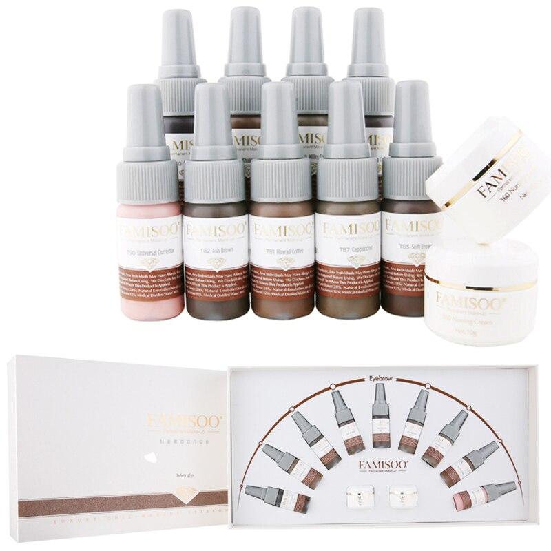 Famisoo 11 pcs/ensemble Semi maquillage permanent Microblading Sourcils Encre de Tatouage Professionnel pigment pour Microblading livraison gratuite via dhl