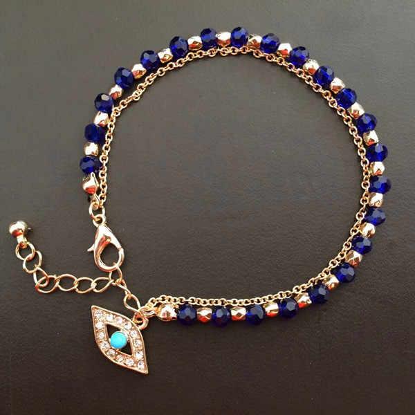 Glod mal olho charme pulseira vermelho e azul contas com mão hamsa turco kabbalah mal olho pulseira mão de fatima pulseira barato