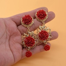 Baroque Court Style Women Long Drop Earrings Vintage Red White Flower Dangle Exaggerated Jewerly For Show Party