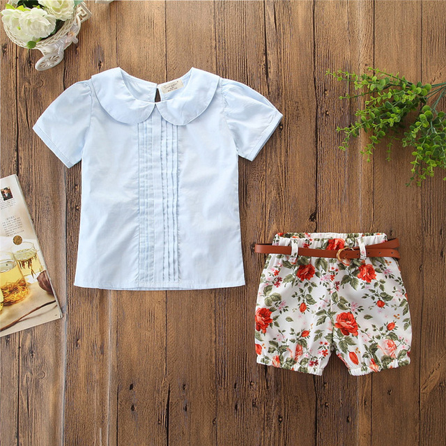 c9e8593893e58 US $4.92 7% OFF|Emmababy New Brand Summer 3PCS Kids Baby Girls Short Tops  Shirt+ Flower Shorts Clothes Outfits Hot-in Clothing Sets from Mother &  Kids ...