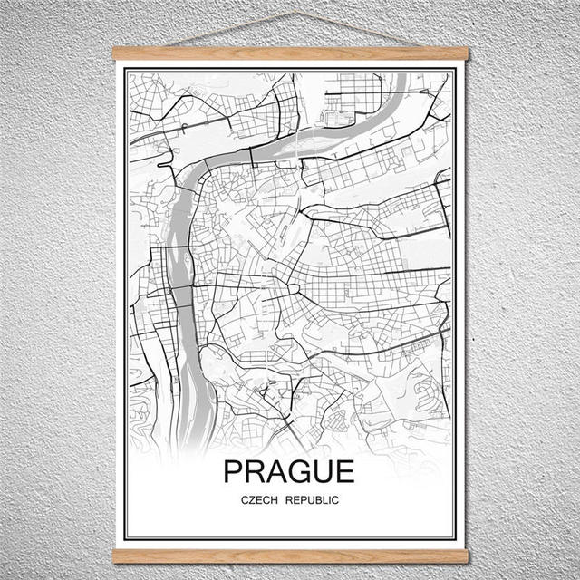 With frameworld city prague map abstract print picture modern poster canvas or oil painting customized pattern