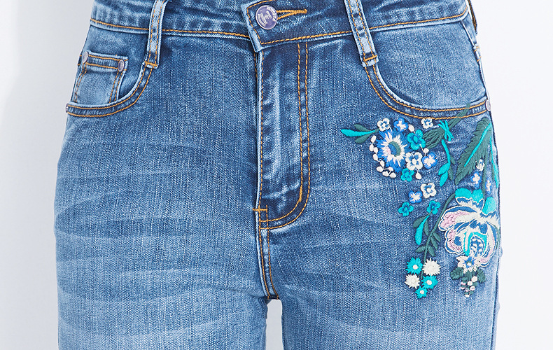 KSTUN FERZIGE 2020 Women Jeans Fashion Flares Denim Pants Embroidery Floral Light Blue High Waist Stretch Sexy Ladies Large Size Mujer 18