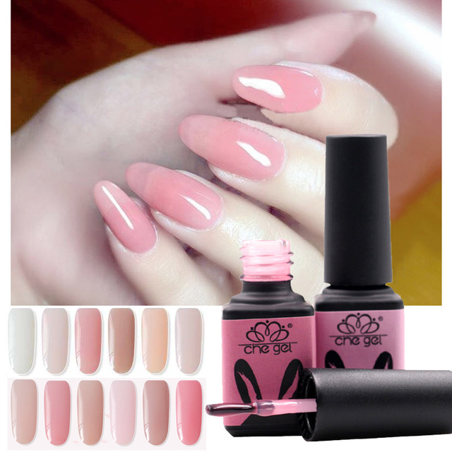 Che Gel Brand Long Lasting Nail Polish Transpa Color Soak Off White Pink