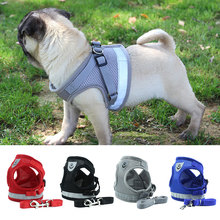 Dog Harness for Chihuahua Pug Small Medium Dogs Nylon Mesh Puppy Cat Harnesses Vest Reflective Walking Lead Leash Petshop sets(China)