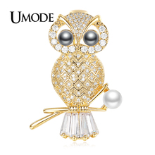 UMODE Fashion Vintage Charming Pearl Owl Brooch for Women Gold Color Brooches Para As Mulheres Bijoux Femme Party Gifts AUX0014A