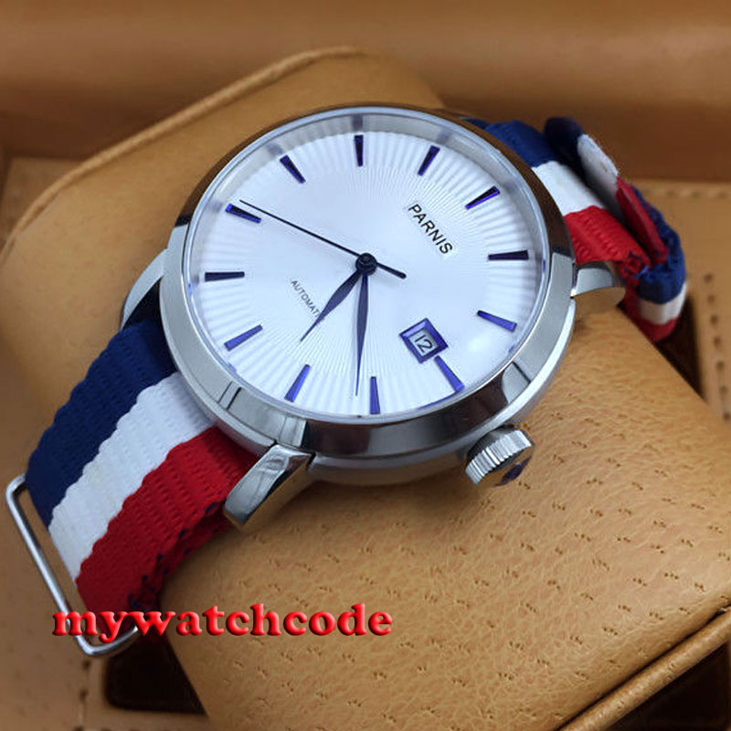 41mm Parnis white dial blue marks date Sapphire miyota Automatic mens watch P554 удлинитель universal у10 554 5m 554 05