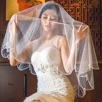 Fashion Beaded Bridal Veil Ivory Two Layers Elbow Length Wedding Veils Accessories Photography Costume Headdress Handmade