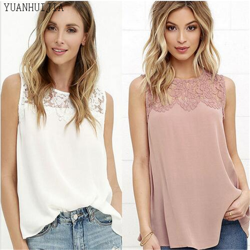 Patchwork Floral Lace Women Casual Top Sleeveless Elegant Office Work Blouse Lady Summer 2016 Shirt High Quality Blouse
