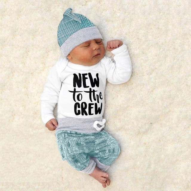 Newborn striped letter print (tops, pants and hat)