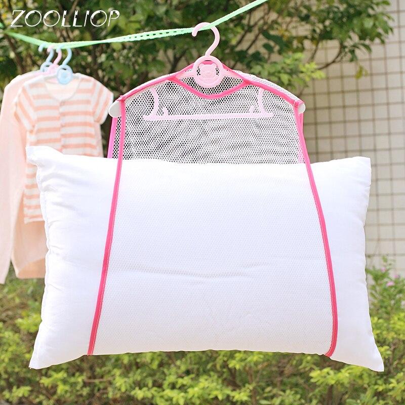 Rejilla de secado a prueba de viento, rejilla fina de impresión, almohada multifuncional, juguetes, ropa interior solar, almohada de secado, bolsa de red, estante colgante