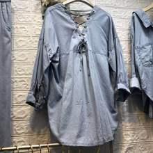 Vadim sprzedaż regularne na co dzień koszulka z pełna Hollow Out solidna 2019 kobiet nowa koszula z powrotem z dekoltem w kształcie litery v pasy proste Tiansi kobiet tanie tanio Kobiety Denim Suknem Stałe V-neck PAFUTIN Solid Color Blue Tencel Jeans convention Long sleeves General Straight tube