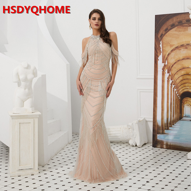 HSDYQHOME Sequin Beading Mermaid   Evening     Dress   Sexy Illusion Back Slit Off Shoulder Crystal Neck Tassle Gown 2019 High-end