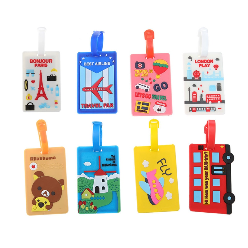 Kawaii Suitcase Luggage Tag Cartoon Holder Baggage Label Silica Ge Identifier Travel Accessories Party Gifts