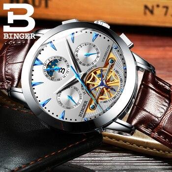 2016 New Military Leather Brand Automatic Self-wind Relogios Masculino Watch Mechanical Fashion BINGER Watch Tourbillon Clock