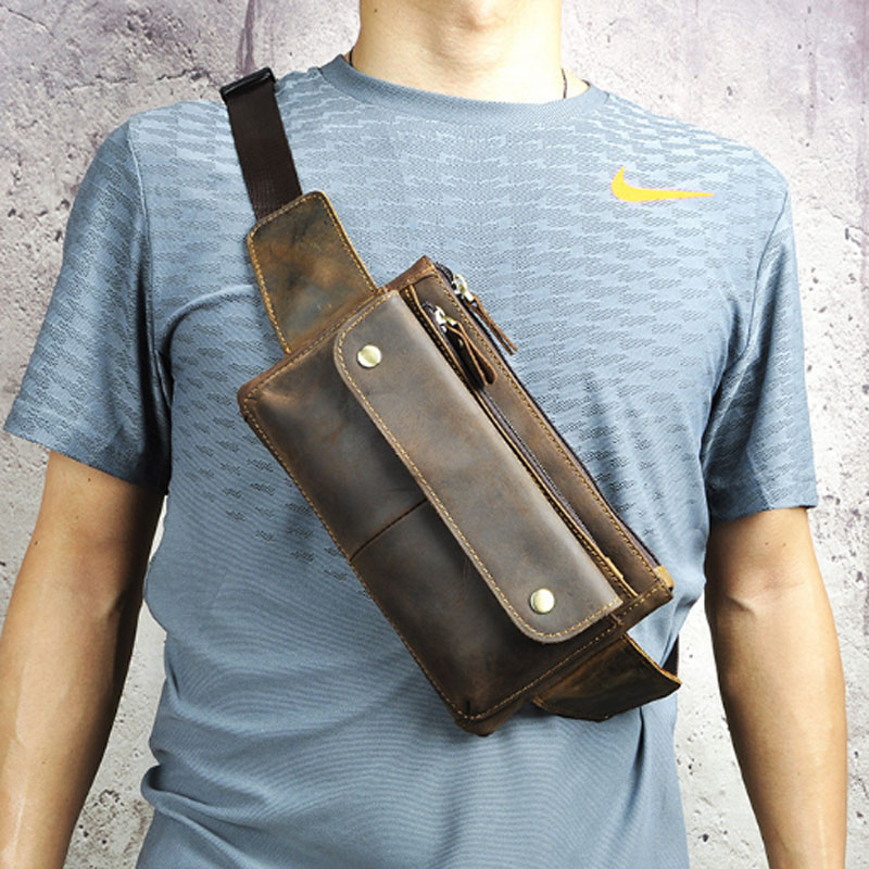Vintage Men Crazy Horse Cowhide  Waist Packs Fanny Pack Chest Bag  Messenger Shoulder Bags Purse Pouch