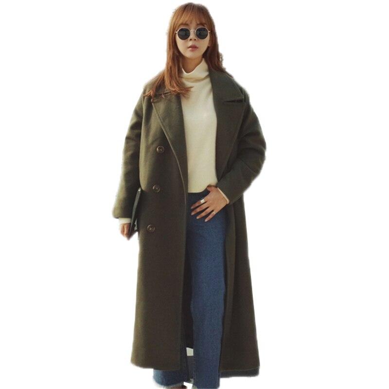 O265 Longues Outwear Droite Femelle Double Laine D'hiver Lâche Manches camel Paragraphe Mélanges Boutonnage À 2018 Manteau Femmes Noir Long Coréen vert wTaxqFg76