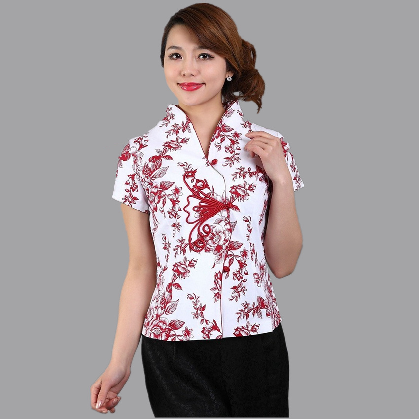 Súper ventas rojo tradicional estilo chino blusa mujeres camisa de algodón super
