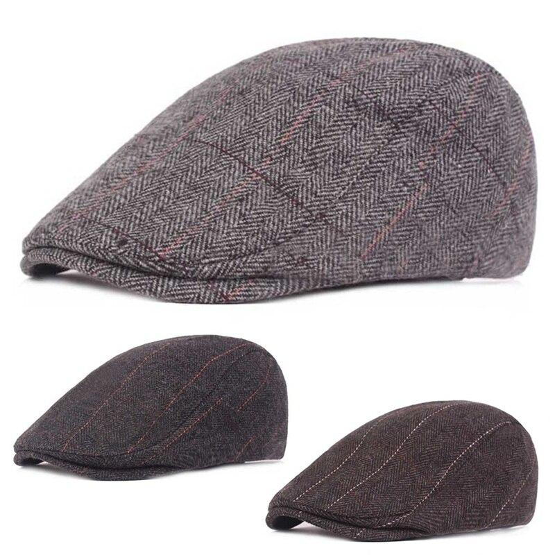 2019 Männer Kappe Hüte Berets Britischen Westlichen Stil Wolle Erweiterte Flache Kappe Klassischen Vintage Gestreiften Mütze Kappe Neueste Mode